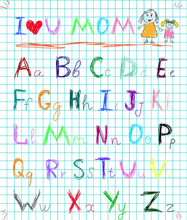 Multicolored baby sketch hand drawn doodle alphabet letters on squared notebook page isolated vector illustration with I love you mom headline and kid's picture