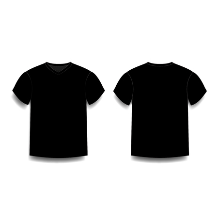 Black mens t-shirt template v-neck front and back side views. Vector of male t-shirt wearing illustration isolated on white background.