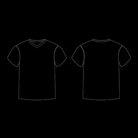 Outline countur silhouette of men's t-shirt template v-neck front and back side views. Vector of male t-shirt wearing illustration isolated on black background.