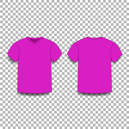 Purple men's t-shirt template v-neck front and back side views. Vector of male t-shirt wearing illustration isolated on transparent background.  イラスト・ベクター素材