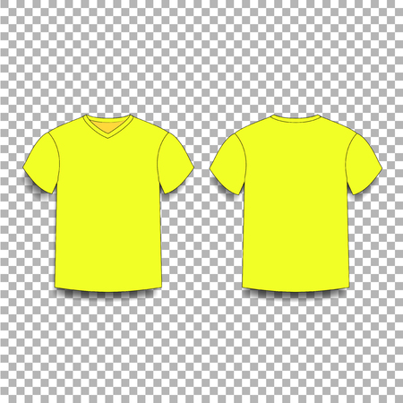 Yellow mens t-shirt template v-neck front and back side views vector of male t-shirt wearing illustration isolated on transparent background.