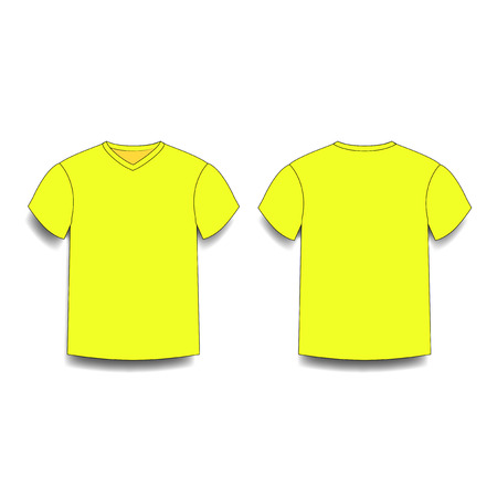 Yellow mens t-shirt template v-neck front and back side views vector of male t-shirt wearing illustration isolated on white background.