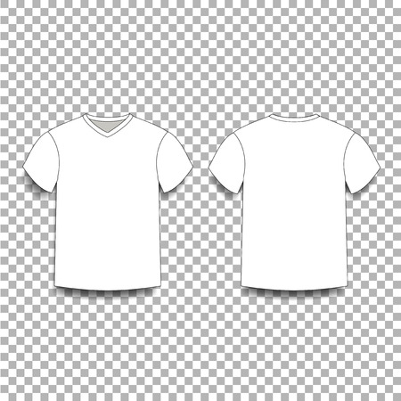 White men's t-shirt template v-neck front and back side views. Vector of male t-shirt wearing illustration isolated on transparent background.