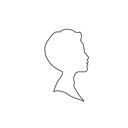 Black profile outline silhouette of young boy or man head, face profile, vignette. Hand drawn vector illustration, isolated on white background. Design for invitation, greeting card, vintage style.