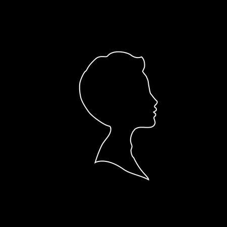 White profile outline silhouette of young boy or man head, face profile, vignette. Hand drawn vector illustration, isolated on black background. Design for invitation, greeting card, vintage style.
