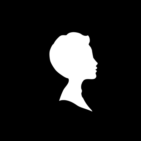 White profile silhouette of young boy or man head, face profile, vignette. Hand drawn vector illustration, isolated on black background. Design for invitation, greeting card, vintage style.