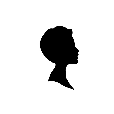 Black profile silhouette of young boy or man head, face profile, vignette. Hand drawn vector illustration, isolated on white background. Design for invitation, greeting card, vintage style.