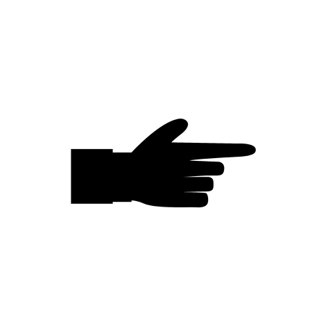 Pointing finger illustration of businessman black hand with index finger pointing isolated on white background. Black right side finger vector icon for graphic and web design. Illustration