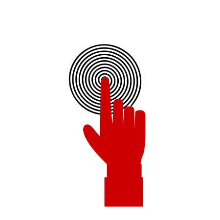 Vector illustration of index finger pointing to the target, business concept, red hand with index finger touching or pushing black target aim or pressing a button on white background. Palm silhouette.