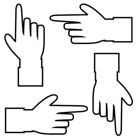 Zwarte omtrek contour silhouet van de hand met wijzen of tonen in verschillende richtingen vinger. Vector set handcursor pictogrammen geïsoleerd op een witte achtergrond.