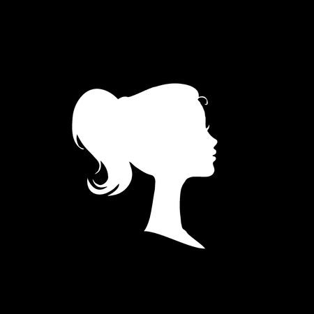 White profile silhouette of young girl or woman head, face profile, vignette. Hand drawn vector illustration, isolated on black background. Design for invitation, greeting card, vintage style. Vettoriali