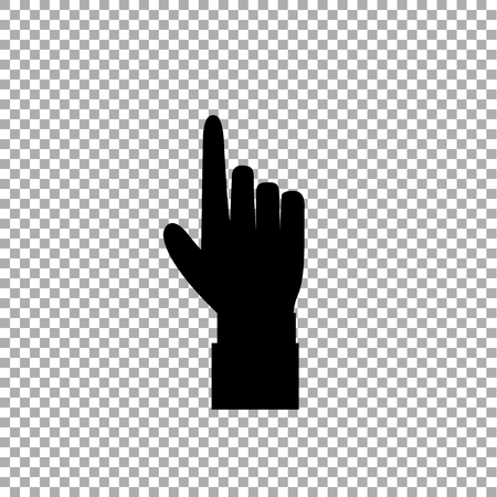 Hand gesture with a raised index finger. Pointing finger icon illustration of businessman black hand with index finger pointing isolated on transparent background