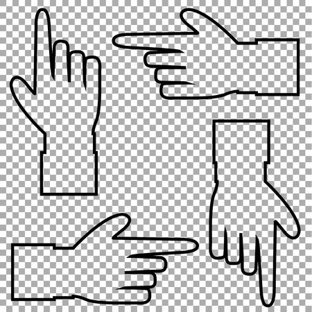 Black outline contour silhouette of hand with pointing or showing in various directions finger. Vector set of hand cursor pictograms isolated on transparent background.