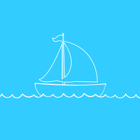 Vector white contour outline silhouette illustration of sailing ship transportation floating on sea waves. Yacht boat icon isolated on blue background.