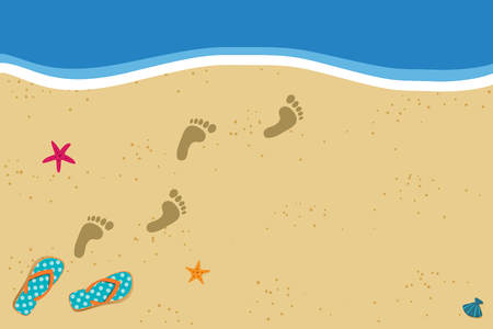 Summer vacation vector photo border frame with pair of flip flops and human barefoot foot prints on sand going into water. Sandy sea beach with footprints and shells template with space for text.