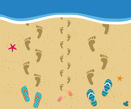 Family at the sea. Top view of three footprints path at sandy beach walking into the water and flip flops nearby. Mother, father and child on summer vacarion at the ocean seaside. Vector illustration. Illustration