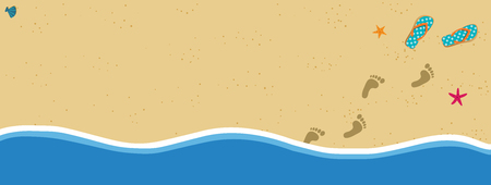 Summer vacation vector banner border frame with pair of flip flops and human barefoot foot prints on sand going out of water. Sandy sea shore with footprints and shells template with space for text.