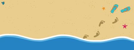 Marco de borde de banner de vector de vacaciones de verano con par de chanclas y huellas de pies descalzos humanos en la arena saliendo del agua. Orilla del mar de arena con plantilla de huellas y conchas con espacio para texto.
