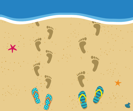 Honeymoon at the sea. Top view of loving couple footprints at sandy beach walking into the water and pair of flip flops nearby. Love vacation or holiday concept. Vector illustration.