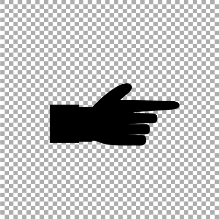 Pointing finger illustration of businessman black hand with index finger pointing isolated on transparent background. Black right side finger vector icon for graphic and web design.