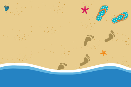 Summer vacation vector photo border frame with pair of flip flops and human barefoot foot prints on sand going out of water. Sandy sea shore with footprints and shells template with space for text.