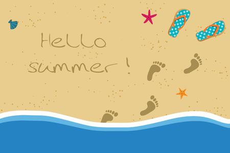 Hola ilustración de vector de vacaciones de verano con par de chanclas y huellas de pies descalzos humanos en la arena entrando en el agua. Orilla del mar de arena con huellas y conchas.
