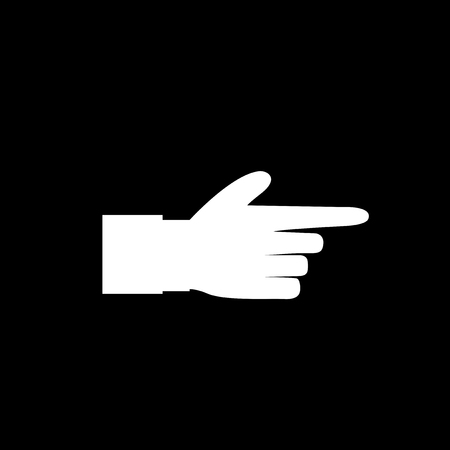 Pointing finger icon illustration of businessman white hand with index finger pointing isolated on black background