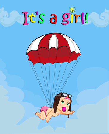 Its a girl cartoon vector illustration with cute baby girl in pilot hat falling down with red parachute in blue cloudy sky background. Baby shower greeting card design. Newborn baby arrival concept. Illustration