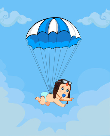 Its a boy cartoon vector illustration with cute baby in pilot hat falling down with blue parachute in cloudy sky background. Baby shower greeting card design. Newborn awaiting baby arrival concept. Ilustração