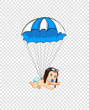 Its a boy cartoon vector clip art with cute baby in pilot hat falling down with red parachute on transparent background. Baby shower greeting card design element. Newborn baby arrival icon concept Illustration