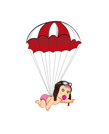 fb705a028a2 Its a girl cartoon vector clip art with cute baby in pilot hat falling down  with