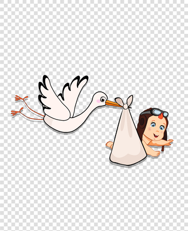 Its a boy cartoon vector illustration with stork bringing cute baby wearing pilot hat isolated on transparent background. Baby shower clip art or sticker for greeting card. Newborn arrival concept