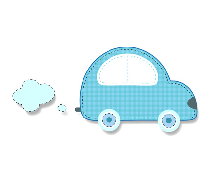 Cute baby boy vector clip art element for scrapbooking or baby shower greeting card and childs design. Cut out fabric or paper chequered blue retro car sticker or icon isolated on white background.