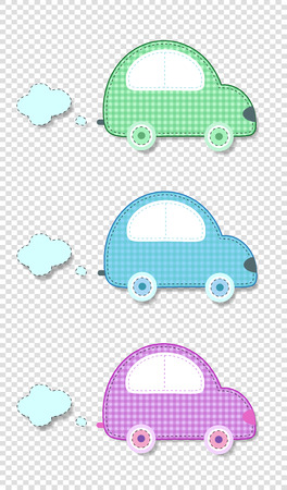 Vector set of cute baby clip art elements for scrapbook or baby shower greeting card and kids design. Cut out fabric or paper plaid stickers of green, blue and pink cars on transparent background.