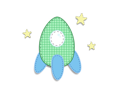 Cute baby boy or girl vector clip art element for scrapbook or baby shower greeting card and childs design. Cut out fabric or paper plaid green rocket sticker, icon isolated on white background.