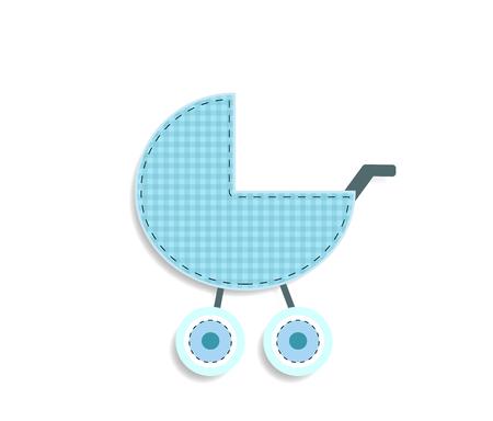 Elemento lindo del arte del clip del vector del bebé para scrapbooking o tarjeta de felicitación de la ducha del bebé y diseño del niño. Recorte la pegatina o el icono azul a cuadros del cochecito de tela o papel aislado sobre fondo blanco.