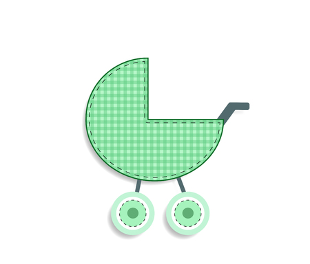 Cute baby vector clip art element for scrapbooking or baby shower greeting card and childs design. Cut out fabric or paper chequered green stroller sticker or icon isolated on white background. Illustration