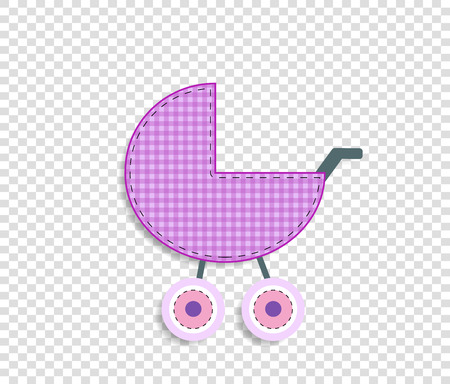 Cute baby girl vector clip art element for scrapbook or baby shower greeting card and kids design. Cut out fabric or paper checkered pink stroller sticker or icon isolated on transparent background.