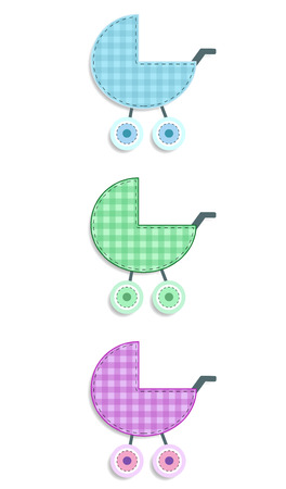 Vector set of cute baby elements for scrapbooking or baby shower greeting card and kids design. Cut out isolated fabric or paper chequered stickers of green, blue and pink stroller on white background