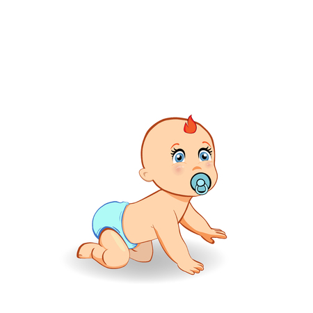 Vector cartoon illustration of cute crawling baby boy in blue diaper with pacifier. Small ginger child crawls on all fours knees, clip art of full-length kid character isolated on white background. Illustration