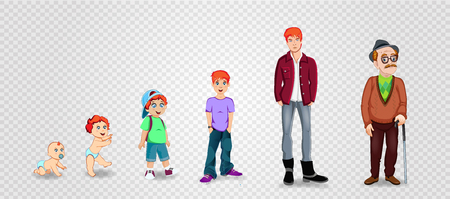 Character man in different ages. Baby, child, teenager, adult, elderly person. The life cycle. Generation of people and stages of growing up. Vector illustration in cartoon style, boy transition age.