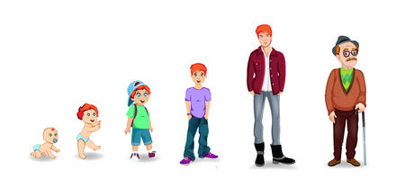 Character man in different ages. Baby, child, teenager, adult, elderly person. The life cycle. Generation of people and stages of growing up. Vector illustration in cartoon style, boy transition age. Illustration