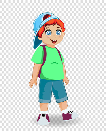 Vector illustration of cute smiling redhead ginger schoolboy with backpack isolated on transparent background. Back to school concept. Little cheerful boy with student bag character clip art.