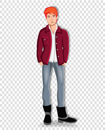 Vector illustration of handsome young redhead man wearing casual clothes keeping hands in the pockets of jeans isolated on transparent background. Adorable full length student boy clip art character
