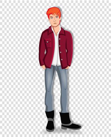 Vektorillustration des schönen jungen rothaarigen Mannes, der lässige Kleidung trägt, die Hände in den Taschen der Jeans lokalisiert auf transparentem Hintergrund hält. Entzückender Clip-Art-Charakter eines Studentenjungen in voller Länge