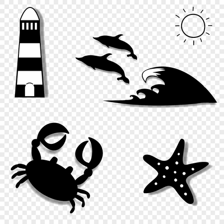 Vector black and white silhouette illustration of summer travel sea icon set isolated on transparent background. Lighthouse, dolphins, crab, starfish. Vacation icons collection for graphic web design