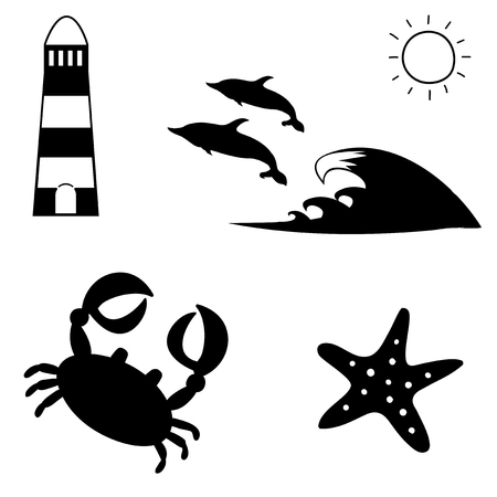 Vector black and white silhouette illustration of summer travel sea icon set isolated on white background. Lighthouse, dolphins, sun, crab, starfish. Vacation icons collection for graphic web design