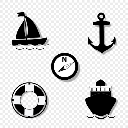 Vector black and white silhouette illustration of summer travel sea icon set isolated on transparent background. sailing ship, anchor, compass, lifebuoy, yacht. Cruise icons set for graphic web design 矢量图片