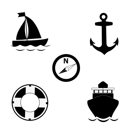 Vector black and white silhouette illustration of summer travel sea icon set isolated on white background. Sailing ship, anchor, compass, lifebuoy, yacht. Cruise icons collection for graphic design. 矢量图片