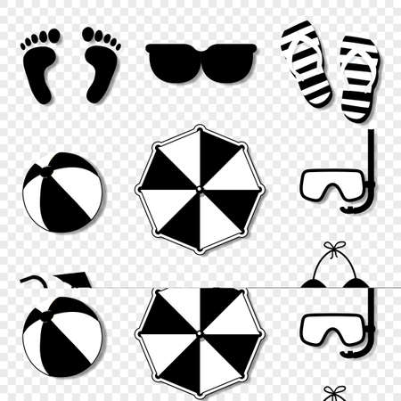 Vector black and white silhouette illustration of summer travel beach icon set isolated on transparent background. Photo camera, flip flops, umbrella, cocktail, ball, footprints, diving mask, swimsuit